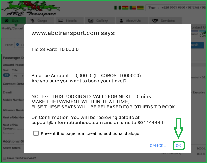 ABC Motors Online Booking - confirmation page