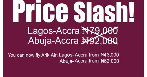 Arik Flight fee from Nigeria to Ghana