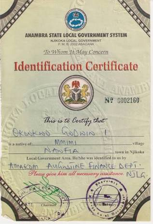 How To Get Local Government Certificate Of Origin In Nigeria