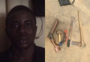Nurudeen and some of the weapons found on him