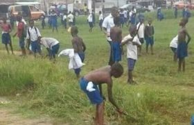 Children cutting Grass in school